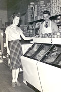 Claude & Alice Allen in their grocery store (February 1942)