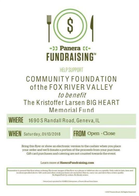 Kristoffer Larsen Big Heart Memorial Foundation Fundraiser At Panera