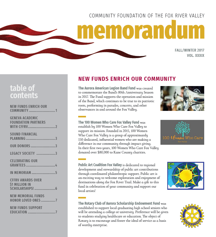 newsletters community foundation of the fox river valley